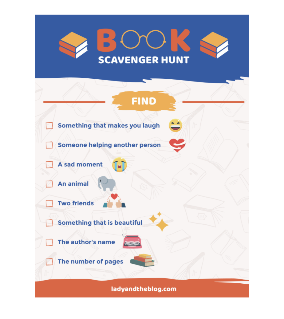 book club scavenger hunt for kids
