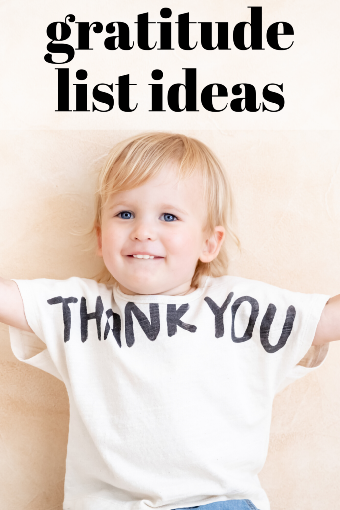 gratitude list ideas