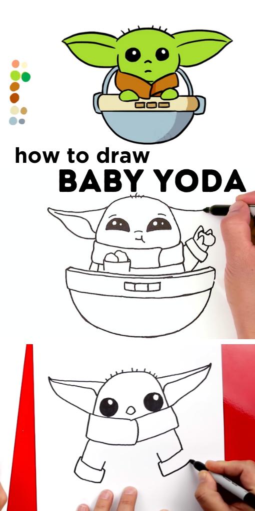 How To Draw Baby Yoda From The Mandalorian - 14 Baby Yoda ...