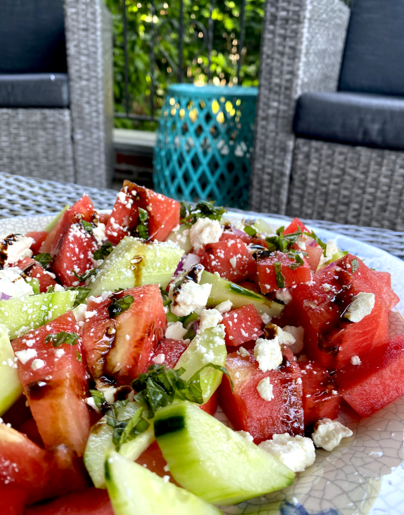 Watermelon and Cucumber Salad with Mint & Feta - The Produce Moms   Recipe   Best salad recipes