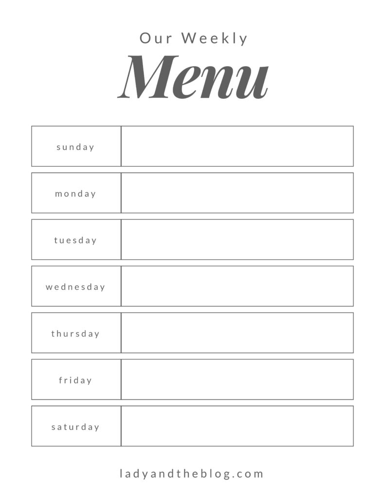 weekly family meal planner