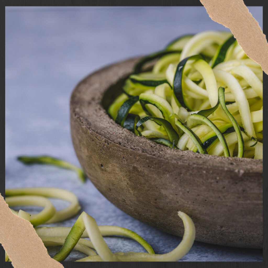 blanched zoodles