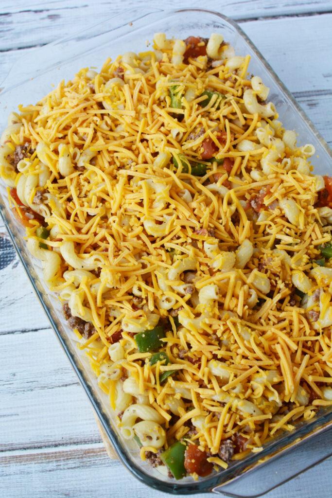 cheesy hamburger macaroni casserole