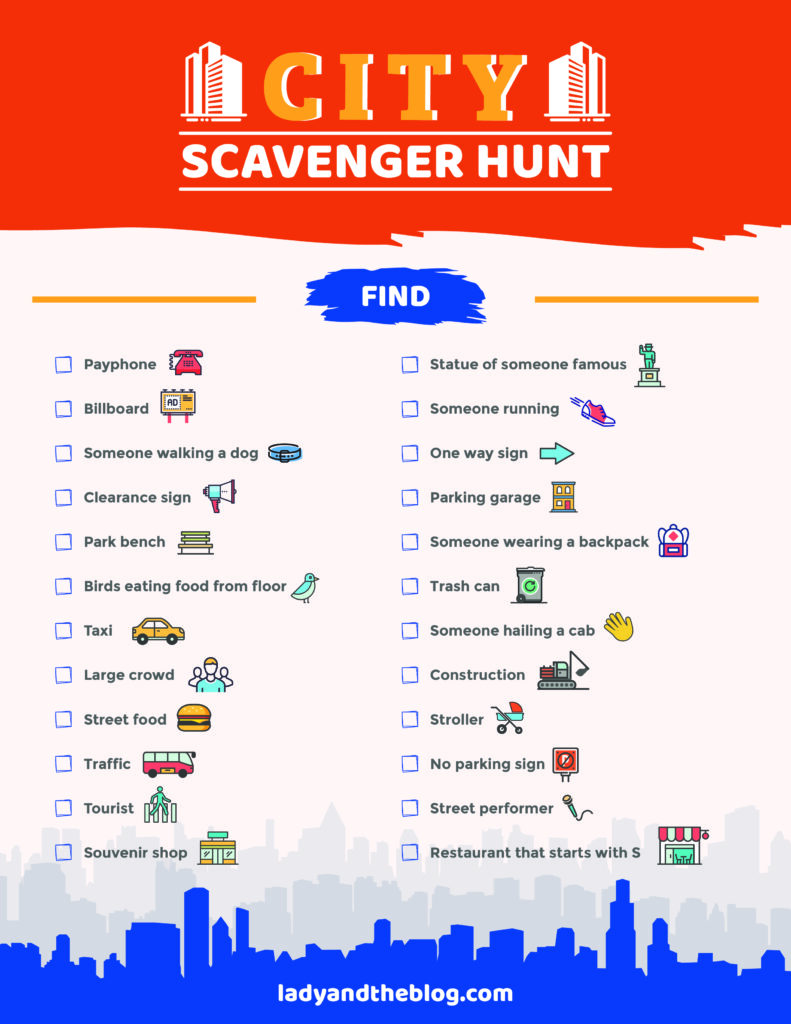 City Scavenger Hunt Printable