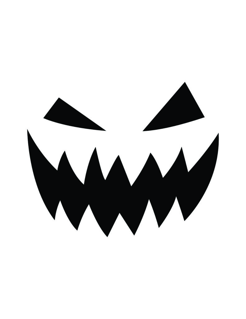 traditional scary face pumpkin carving template