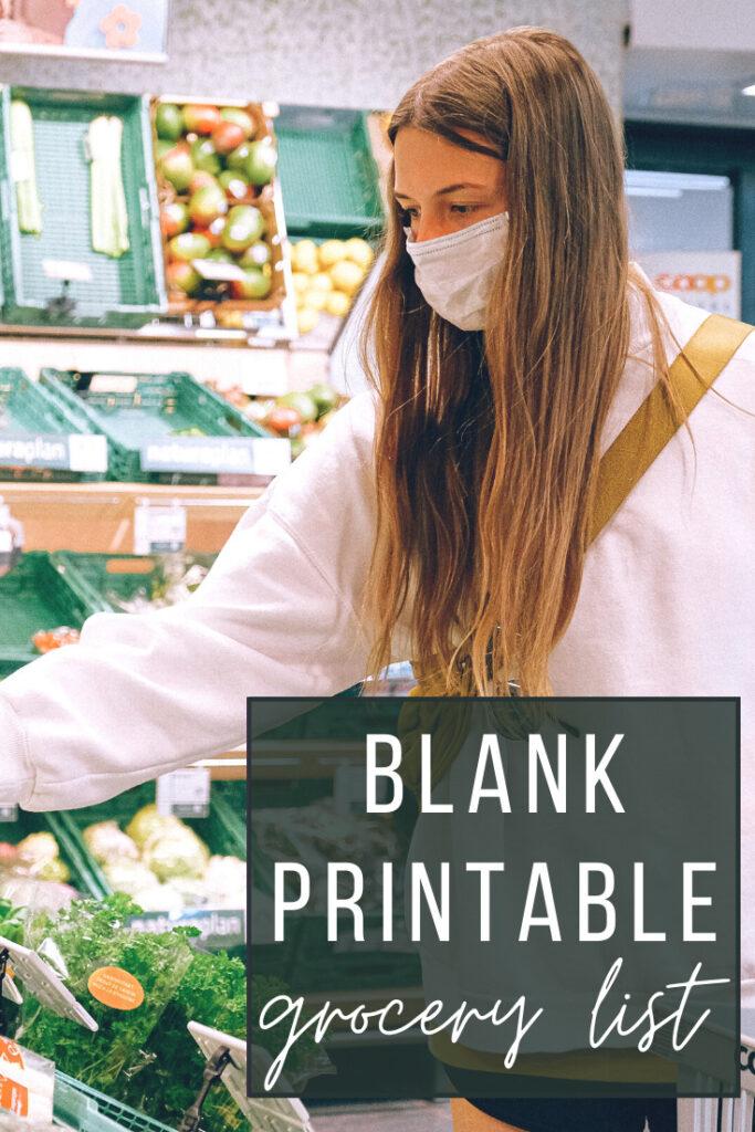 Free Printable Blank Grocery List