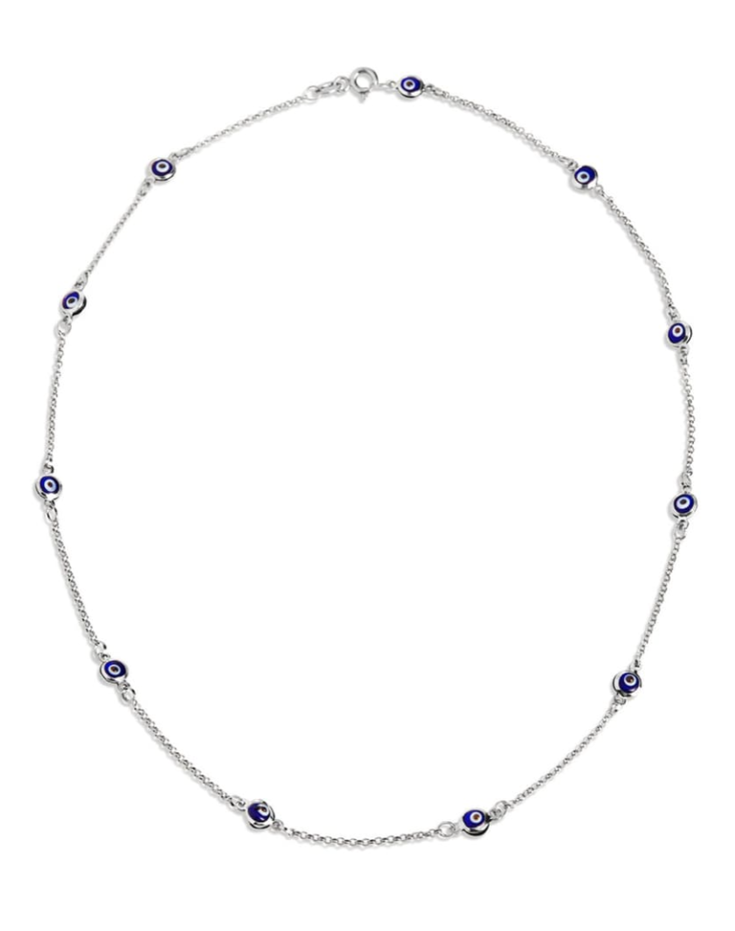 Sterling Silver Station Evil Eye Necklace