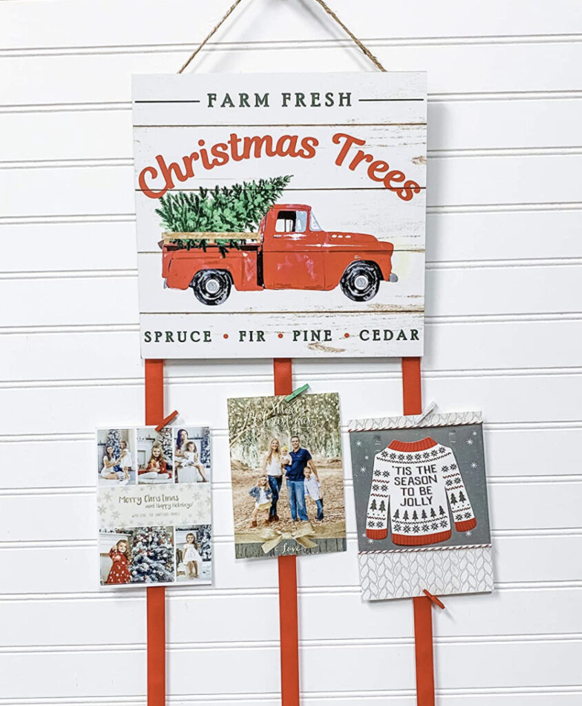 Christmas Card Holder - Red Truck