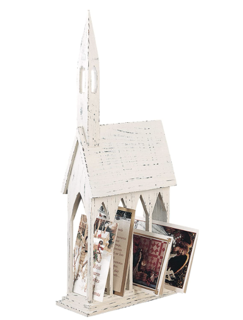 Church Card Holder Rustic Wood Distressed Table