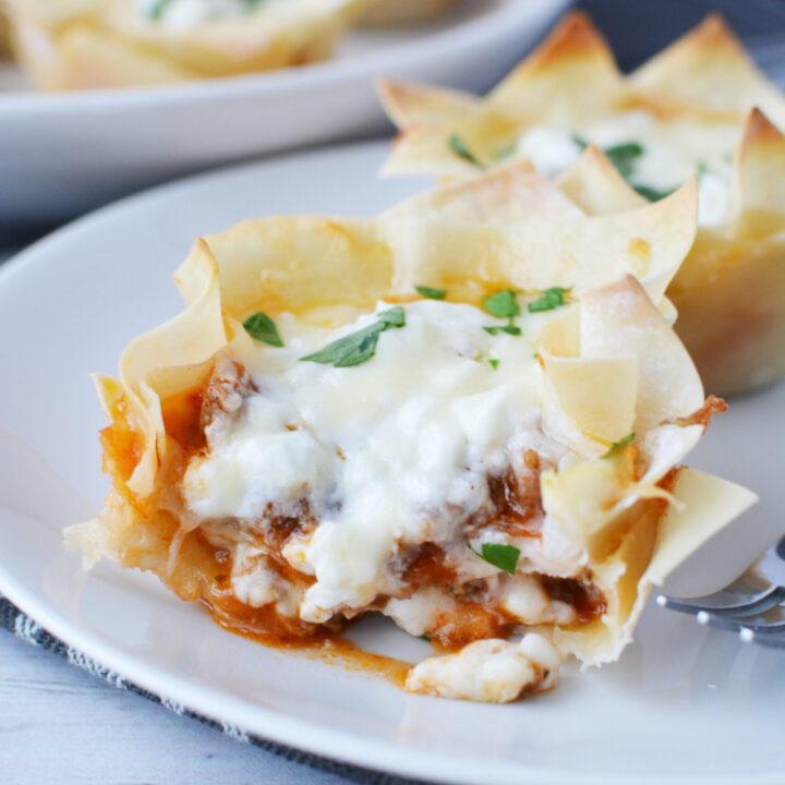 wonton lasagna cups